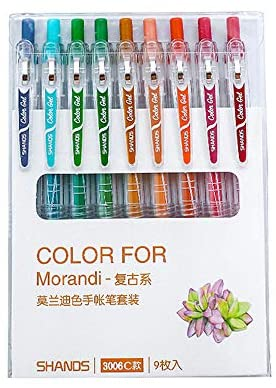 Read more about the article Morandi Colored Gel Ink Pens Retractable 0.5mm Fine Point Assorted Colors for Bullet Journal/To Do List/Making Notes/Art Painting, Pack of 9 (Vintage Style)