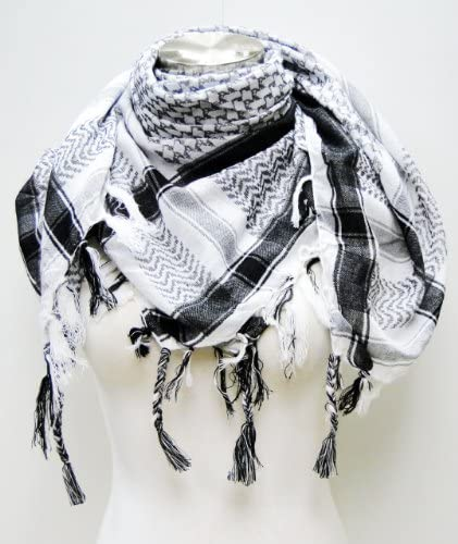 Read more about the article Premium Shemagh Head Neck Scarf – Black/White